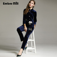 982b8f9eb6 High Quality Women Tops Autumn Royal Embroidery Velvet Suit Mandarin Collar  3 4 Sleeve Casual Floral