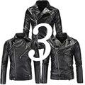 Дешевые Панк Мотоцикл Черный Моды Кожаные Куртки Мужчины Мотоцикл Slim Fit Мальчик Кожаные Байкерские Куртки Мужчины Пу Пальто