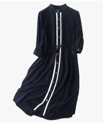 Nella primavera del 2018 nuovo collare di modo breve vita cravatta di seta abito di seta a maniche Un abito parola