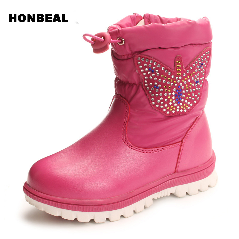 22-27 children diamonds Boots Winter Warm plush Baby Boot Waterproof Soft Bottom PU leather Booties Kids Shoes butterfly rubbler beibile baby lhb 009 green diamonds
