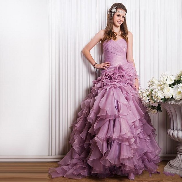2016 Light Purple Wedding Dress Sweetheart Pleated Ruched Lace Up ...