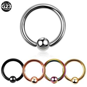 1PC Titanium CBR Piercings Captive Bead Rings BCR Ball Closure Nipple Nose Hoop Septum Rings Lip Eyebrow Tragus Earrings Jewelry