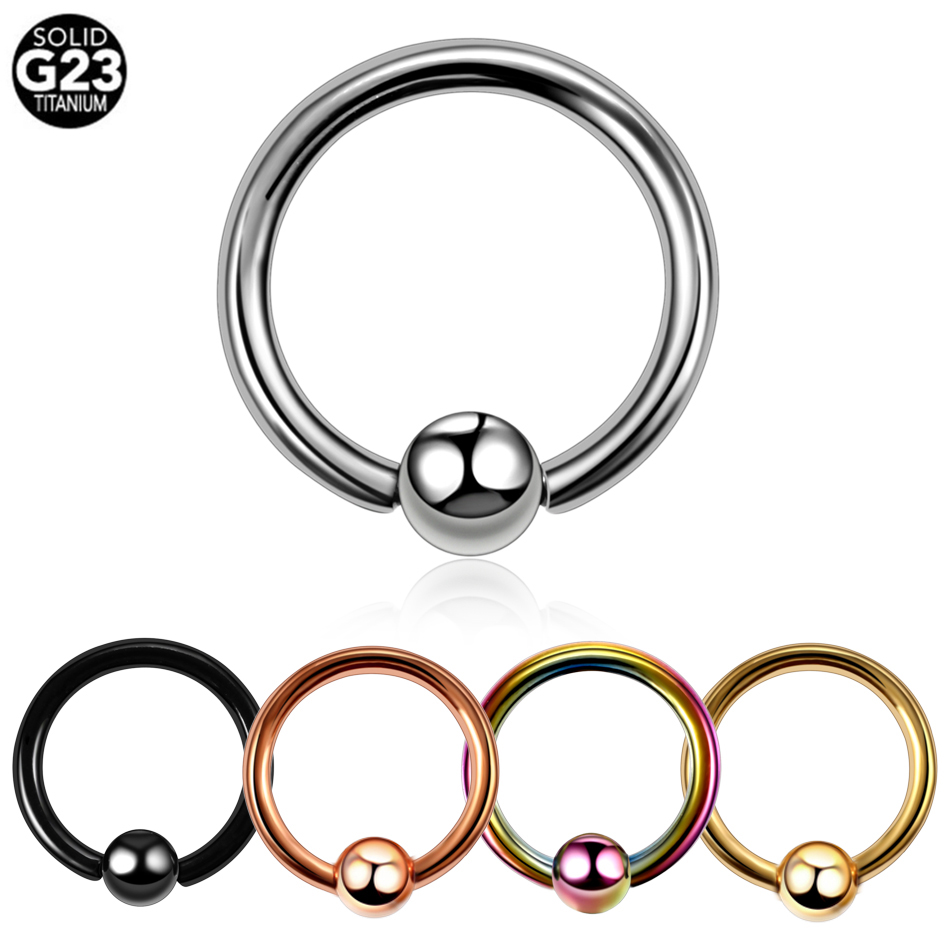 1 PC 12G 10G 8G Captive Bead Ring Snap in Surgical Steel Septum Nipple Earrings
