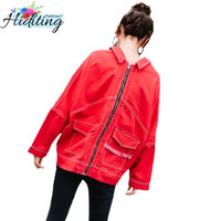 Red Women Denim jacket 2019 Spring Autumn Fashion Tassel Coat Two ways of wearing Trend jackets women Short Denim jackets WIN66