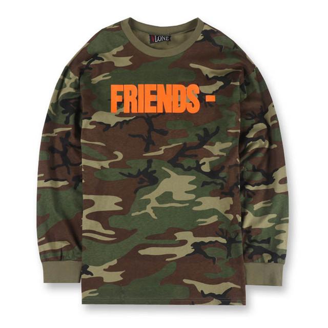 Vlone Amigos Letra V Camuflagem Impressão Camisetas de Manga Longa dos homens Militar Do Exército Camo Tees Hip hop Camisetas Hombre de Moda S-XL