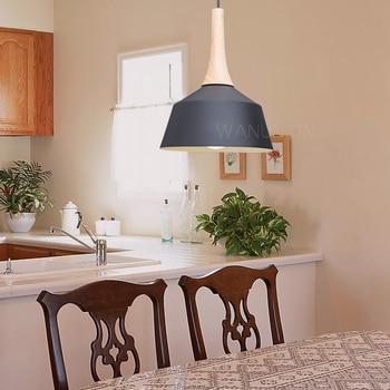 Nórdica colgante luces de aluminio de madera Pantalla de lámpara  iluminación Industrial Loft Lamparas comedor lámpara colgante E27  accesorios de ...