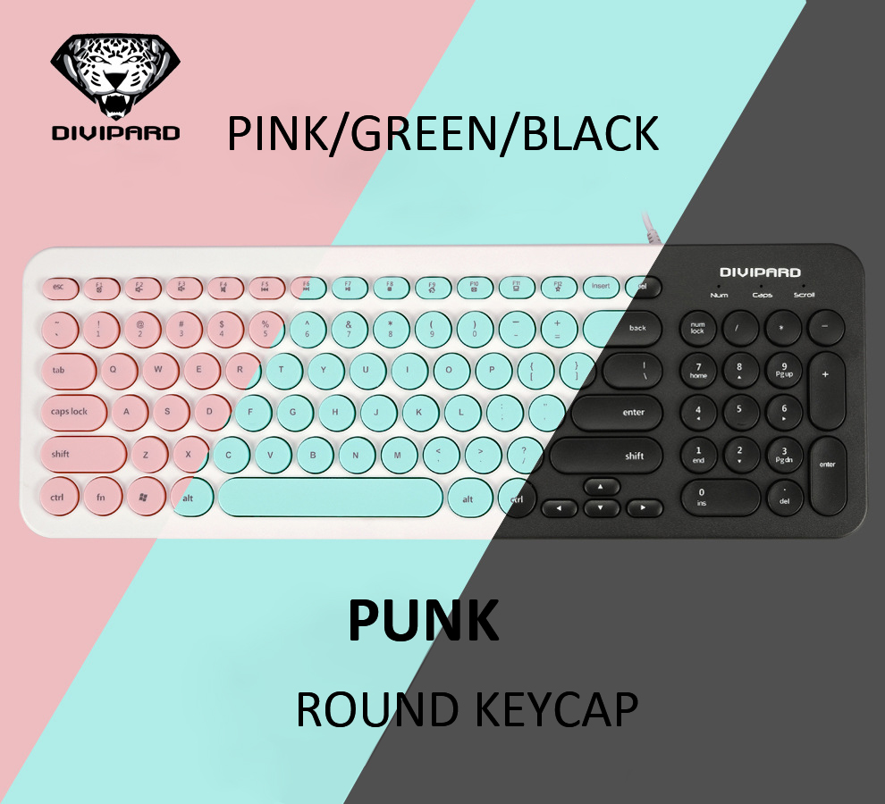 Ultra Thin Keyboard Multimedia Wired USB 96 Keys Office Slim English Keyboard Black/Pink/Green