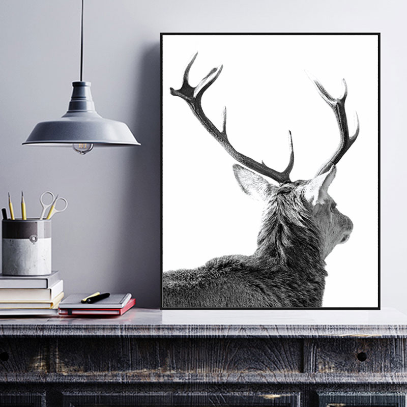Monochrome Deer Head Antler Art Wall Art Deer Head Home