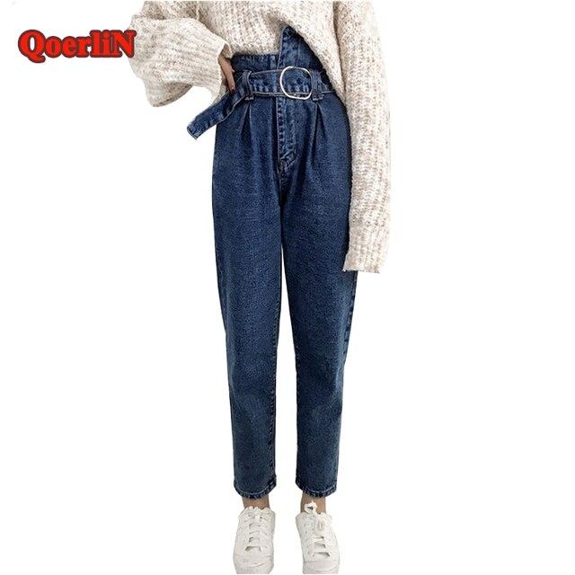 4c7a0a08a0b QoerliN Wysokiej Talii Pas Jeans Odzież Damska Prosto Niebieski Mody  Chłopak Denim Mody Długo Spodni Jesień