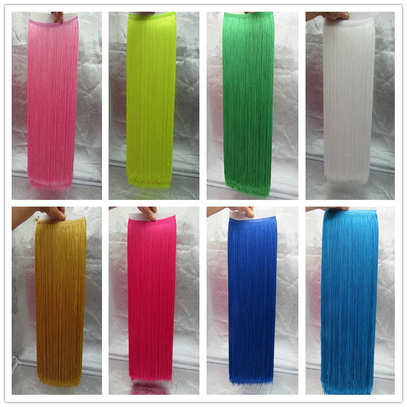 YY tesco 5 Meters 100CM Long Polyester Sequins Tassel Fringe Lace Trim Ribbon Sew Latin Dress