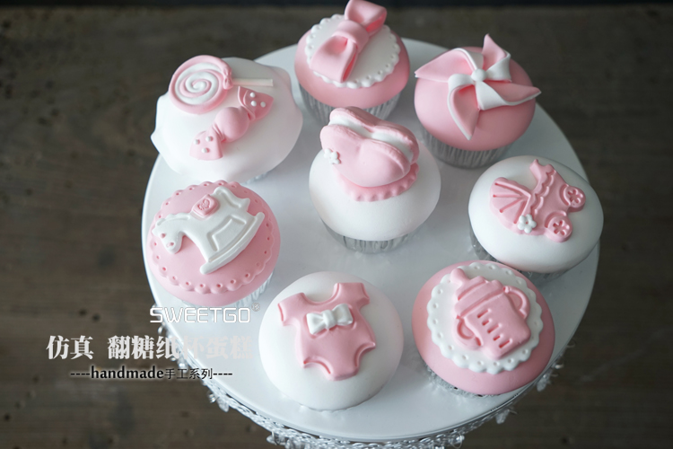 Artificial Fake Cake Simulation Model Decorative Mini Cupcake Pink Baby Girl First Birthday Party Dessert Table