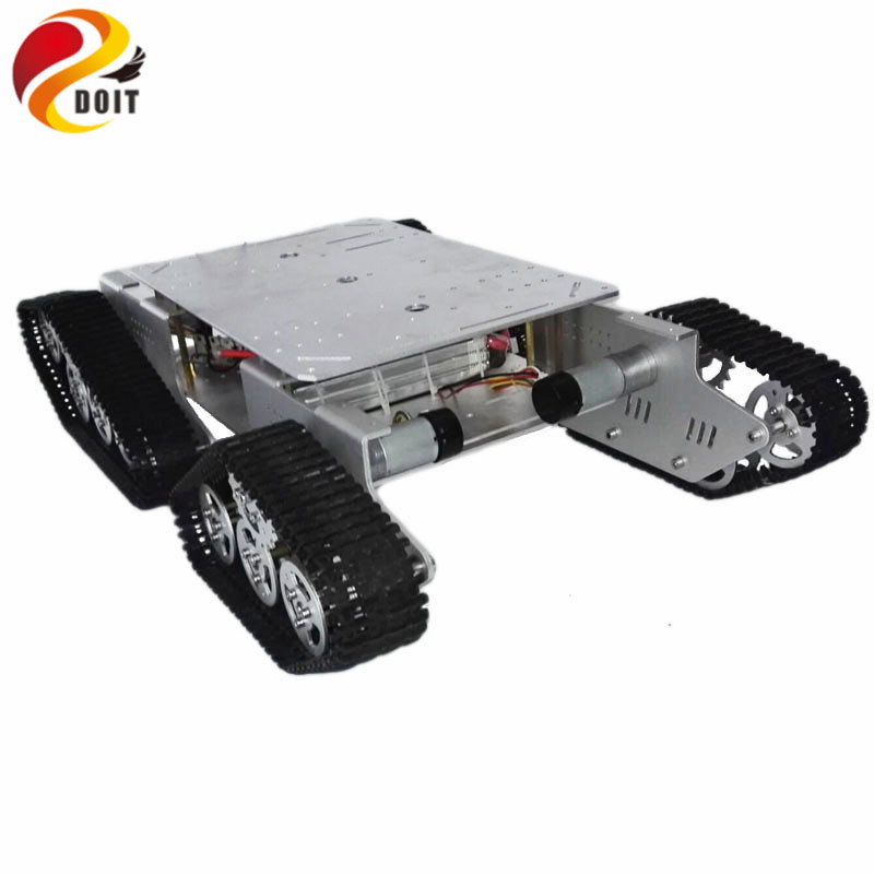 DOIT 4WD Robot Tracked Metal Tank Car Chassis TD900 with Aluminum Alloy Chassis/Frame Robotic Arm Interface Holes RC Remote Toy metal aluminum alloy robot tank chassis 37 motor strong power sk9