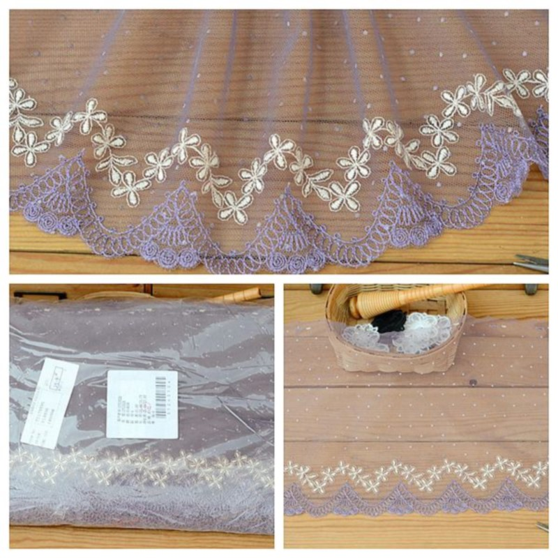 Hot sale High-quality Clothing accessories Light purple minimalist embroidered mesh lace width 22 cm H2204