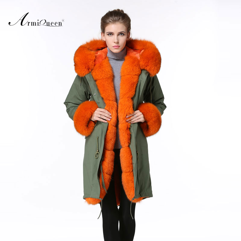 2016 Fashion big fox fur collar Italy brand Winter Extravagant long Outwear Fur Jacket