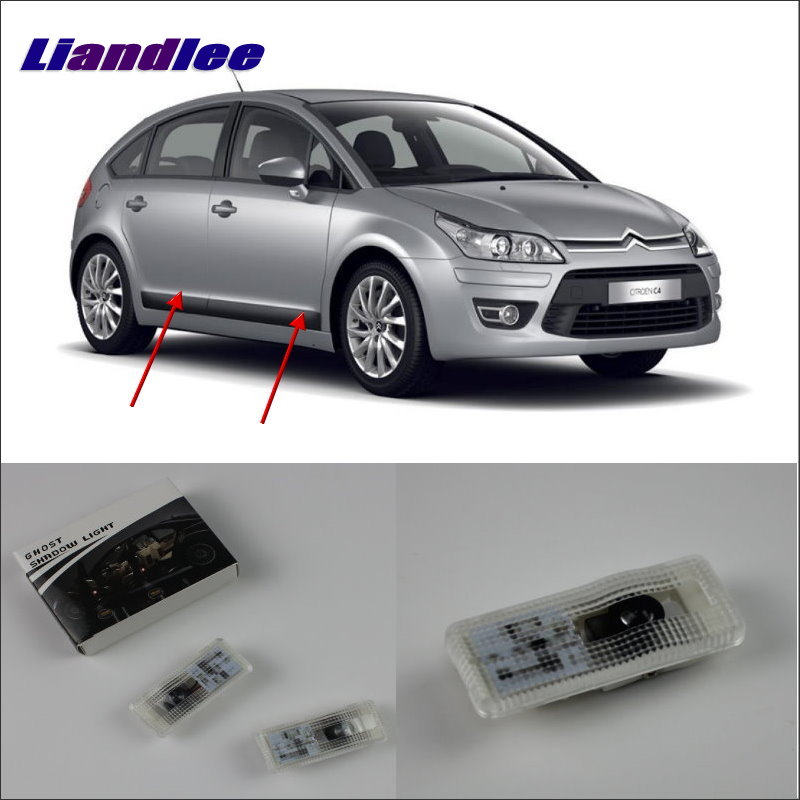 Liandlee Car Door Ghost Shadow Lights For Citroen C4 2004 Courtesy Doors Lamp / Brand Logo LED Projector Welcome Light