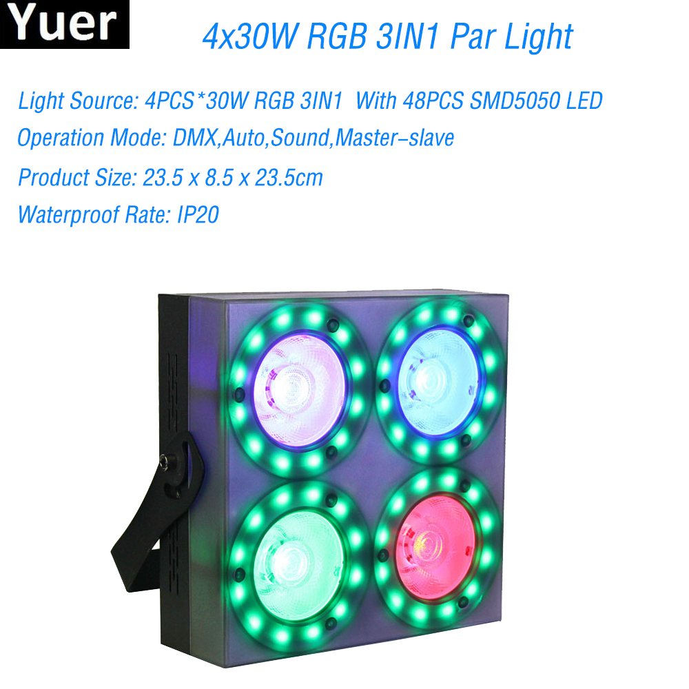 LED Par Show Panel 4x30W RGB 3IN1 With 48PCS SMD5050 LED Light DMX Deam Light For Party Dj Disco Stage Lighting Equipment DMX512 x208 high capacity 3 7v 1520mah li ion replacement battery for samsung galaxy e258 x969 white