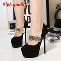 Mujeres stiletto black heels pumps mujeres plataforma tacones rojos de la boda sexy tacones delgados mujeres de los altos talones 34-40 Y769