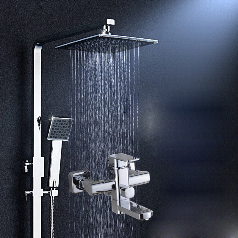 Chrome Rainfall Shower Head Faucet Square Shower Mixer Tap W/ Hand Shower Sprayer Tub Spout Swivel Faucet Wall Mount thermostatic valve mixer tap w hand shower tub spout tub faucet chrome finish