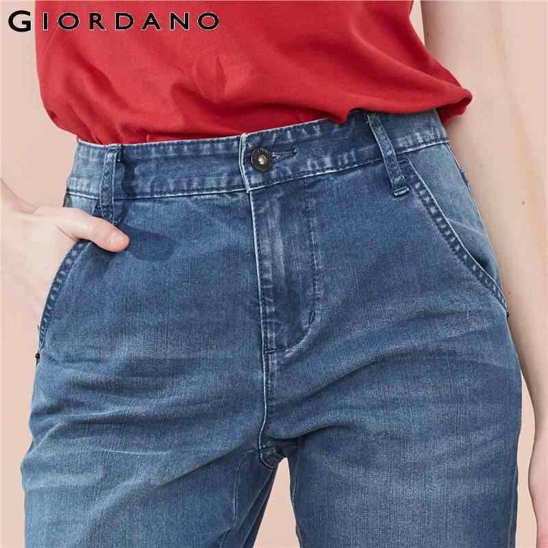 جينز جينز للنساء من جيوردانو تصميم كلاسيكي بطول الكاحل بخمس جيوب ، جينز مستقيم مناسب للسيدات ، فساتين نسائية عصرية