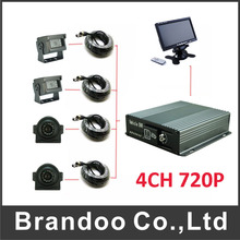 4pcs waterproof AHD camera for realtime 4ch mobile  DVR