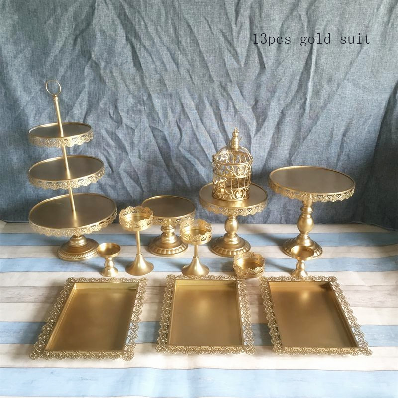 gold cake stand set13 pieces cupake display tray for wedding cake tools candy plate party event home decoration bakeware