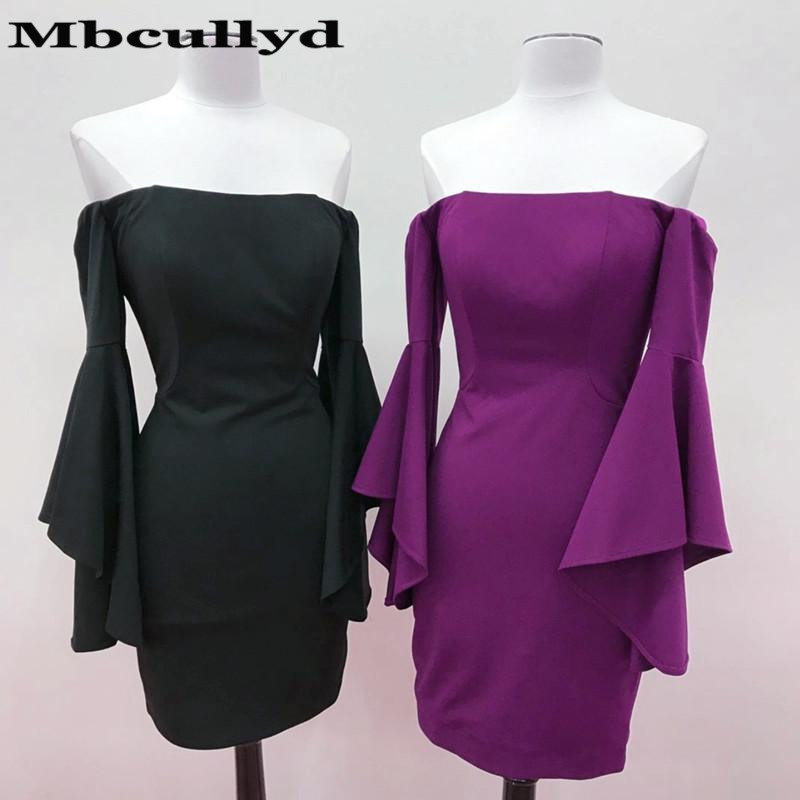 Mbcullyd 2019 Black Purple Short   Cocktail     Dresses   For Women Sexy Strapless Long Sleeves Prom Party Gown Short Mini robe   cocktail