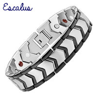2015 Men 4in1 Magnets Negative Ions Germanium Far Infar Red Stainless Steel Bracelet Gift Jewelry Free