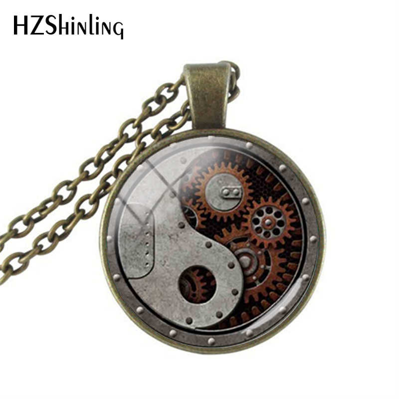 Vintage Pendants Steampunk Style Yin Yang Gearwheel Glass Pendant Statement Nacklaces Handmade Men Jewelry Gifts for him