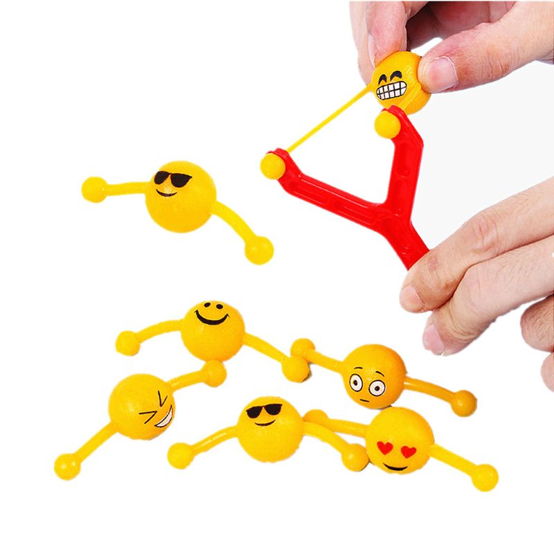 HBB 1PC Kids Toys Funny Emoji Slingshot Shooting Baby Sports Toys Gift Emoji Party Favors Party Supplies Children Outdoor Toys