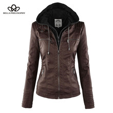 Bella Philosophy Moto Jacket women Zipper coat Turn Down Collor Ladies Outerwear faux leather PU female Jacket Coat(China)