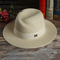 Korean version of the simple hat straw hat Ms. M standard casual men's fashion hat large brimmed hat