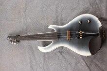 Weiß und schwarz 5 String Elektrische Violine Neue 4/4 Flamme gitarre form massivholz Kraftvollen Sound fret 6-15 #