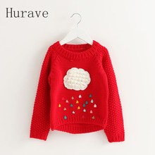 Hurave winter long-sleeve kid knitted sweater clouds pattern princess sweater baby girls children clothing toddler girls sweater