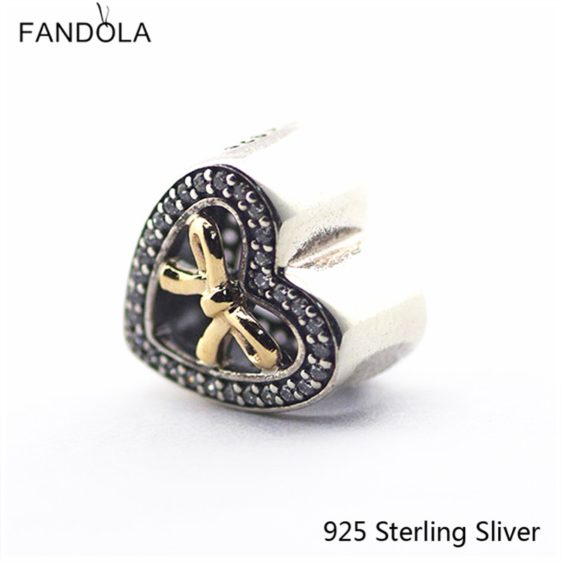 925 Sterling-Silver-Jewelry Bound by Love Charm, Clear CZ Charm Fit for Pandora Charms Bracelet For European Style Women