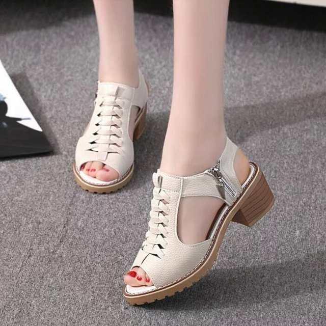 e03b5a55f473a US $10.44 22% OFF|JOKSD Vintage Elegant Mid Square Heel Women's Sandals  Summer Style Peep Toe Cross Tied Side Zip Design Shoes Woman Shoes XS67-in  ...