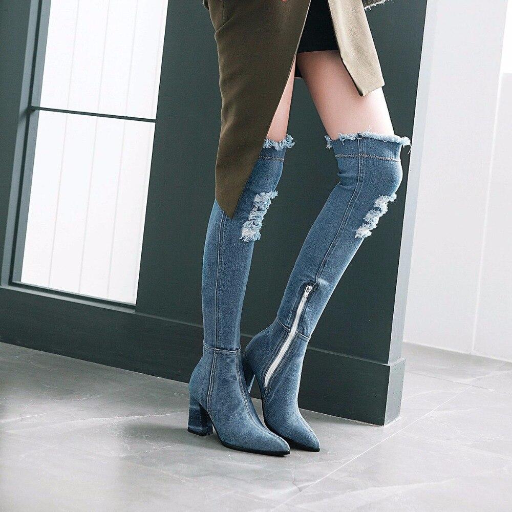 Chaussures Blue De Sur SRomance Carré Mode light Le 34 Talons Bleu dark Bureau Noir Pompes 43 Femme Bottes Blue Femmes Haute Plus La Noir Genou Sb071 Taille WBdCerxo