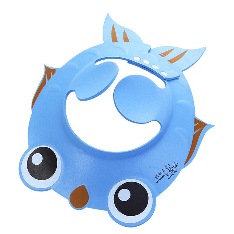LUOEM Goldfish Pattern Baby Adjustable Shampoo Shower Bathing Protect Cap Wash Hair Shield Hat with Ear Protection Pads (Blue)
