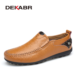 Image 1 - DEAKBR Breathable Genuine Leather Loafers Men Casual Shoes High Quality Adult Slip on Moccasins Men Sneakers Male Footwear 46
