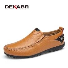 Deakbr respirável mocassins de couro genuíno dos homens sapatos casuais de alta qualidade adulto deslizamento em mocassins tênis masculino 46