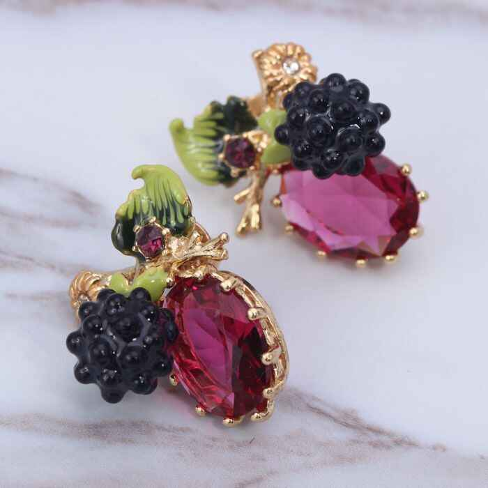 2018 France Designer Amybaby Raspberry Blackberries Red Stone Womens No Piercing Drop Earrings Enamelled Glaze Jewelry For Party