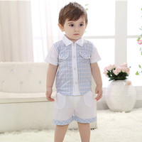 New Summer Branded Gentleman Style Baby Boys Clothing Sets Plaid Short Sleeve Pants Children Clothing 6