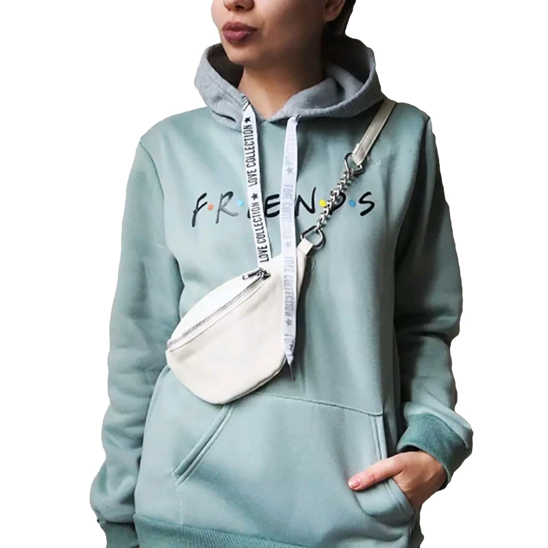 Sweatshirt Long FRIEND Printing Bean Green Color  Large Size High Quality Letter Pattern Fashion Wild Winter Women's Tops
