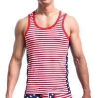 Мужские флаг США печатные майки эластичные плотное нижнее белье звезда майки в полоску мужчины тонкий плотный хлопок нательная майка новый