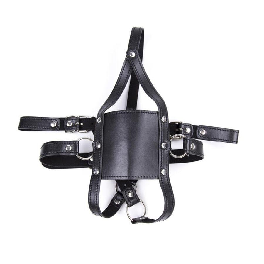 PU Leather Bondage Restraints Head Harness Strap Muzzle Ball Gag