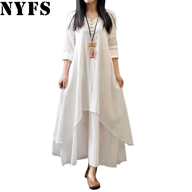 NYFS 2018 New Style Spring Autumn Women Dress Vintage Cotton Linen Plus Size Loose Plus size Dress Vestidos Elbise M-5XL Size