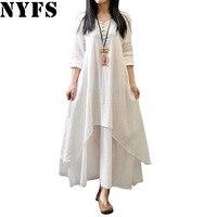 2017 Spring Autumn Women Dress Vintage Cotton Linen Plus Size Loose Plus Size Dress Vestidos Elbise