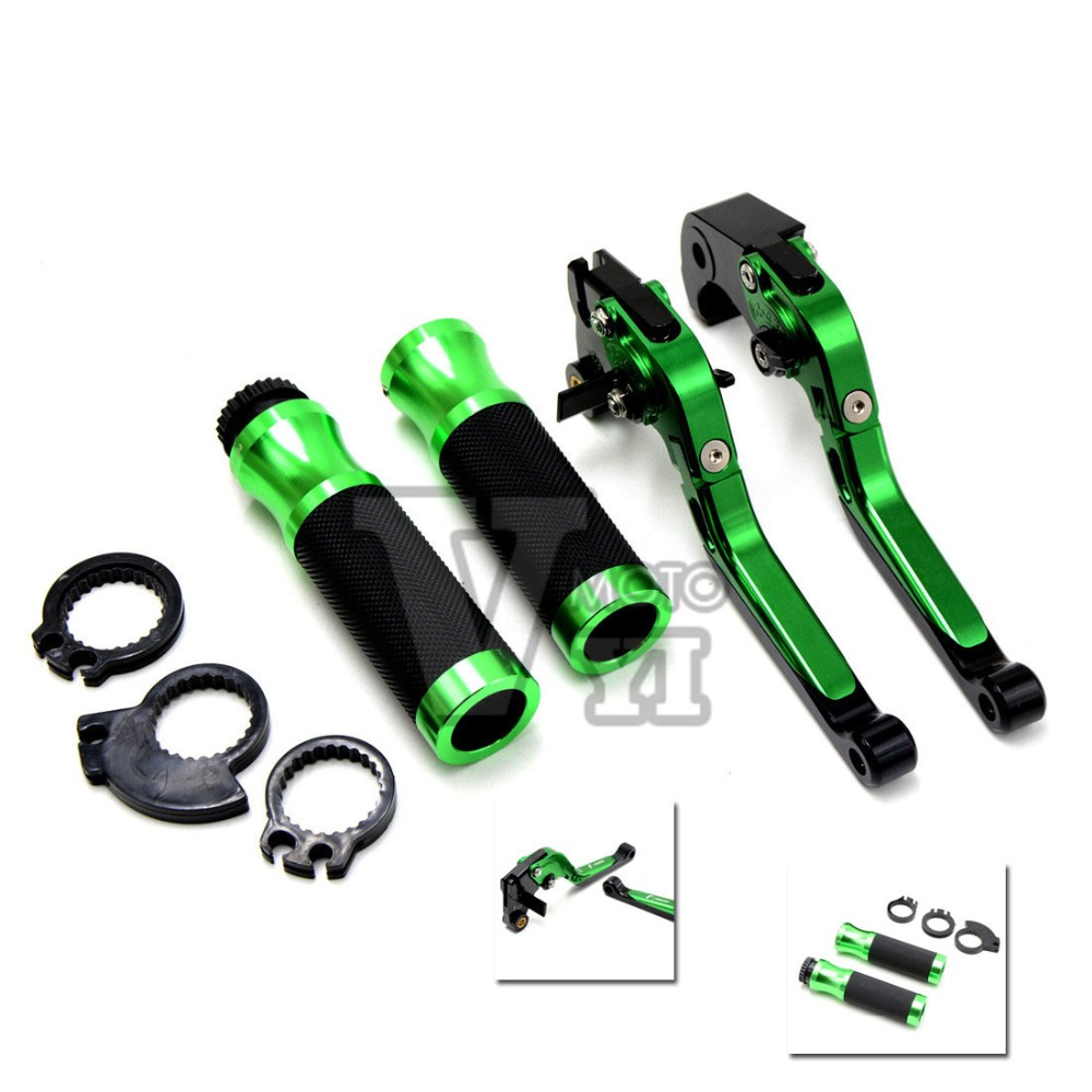 7/8''22MM CNC Folding Brake Clutch Levers&Handlebar Hand Grip Set for Kawasaki ZX6R ZX636 ZX10R Z1000 Z750R Z1000SX NINJA 1000 adjustable short folding clutch brake levers for kawasaki z 1000 sx z1000sx 11 12 13 14 15 zx 10 r 06 07 08 09 10 2014 2015