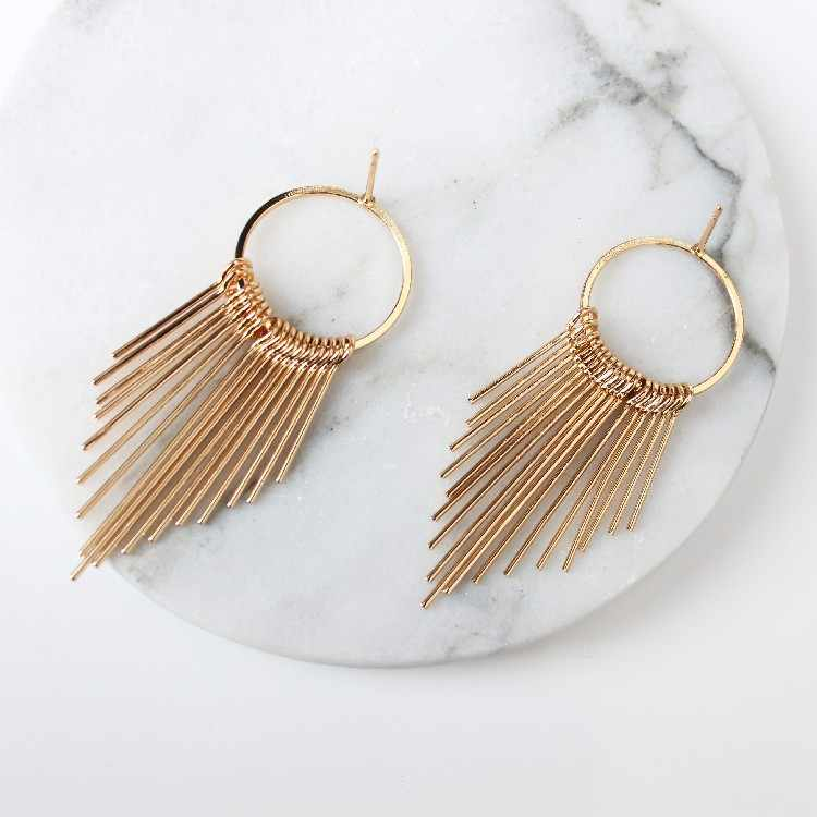 Retro Exaggerated Geometric  Earrings  Korean Earrings Jewelry Tassel Temperament Simple Long Paragraph Ladies Gifts Jewe Punk