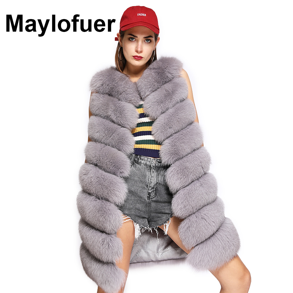Maylofuer BIG DISCOUNT Real Fox Fur Vest New Women Natural Fox Fur Gilet Classic Fur Waistcoat