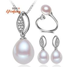 [Yinfeng] Tres conjuntos de Anillo Colgante De Collar y Pendientes de perlas de agua dulce naturales de womer Sistemas Nupciales de La Joyería